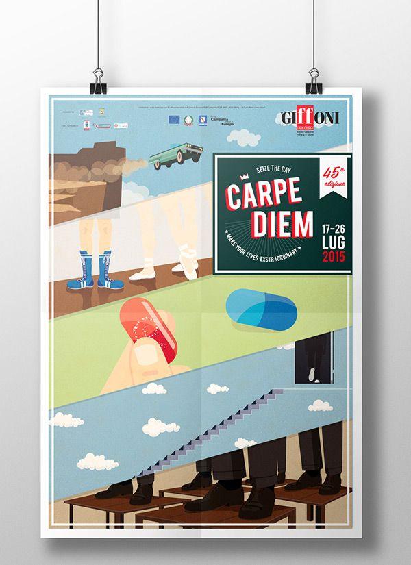 """Manifesto realizzato per il concorso indetto dal Giffoni, in occasione del """"Giffoni Experience - 45a edizione"""", dal tema """"Carpe Diem - Size the day""""."""