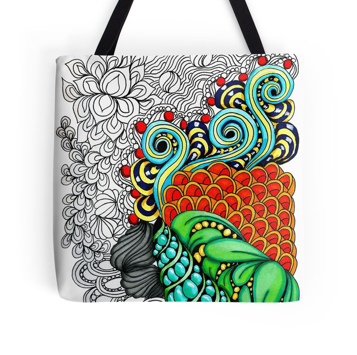 """""""Colorful zen doodle. """" Tote Bags by Maria-So 
