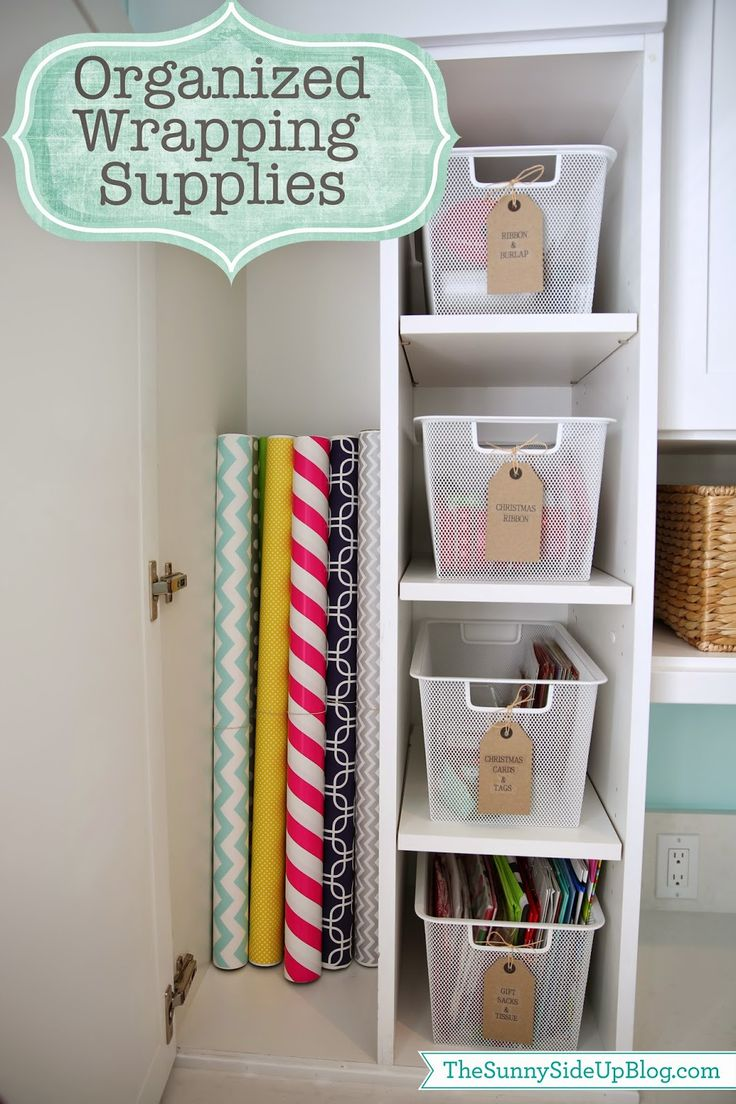 Craft closet storage - Sunny Side Up Organized Wrapping Supplies In A Craft Room Cupboard