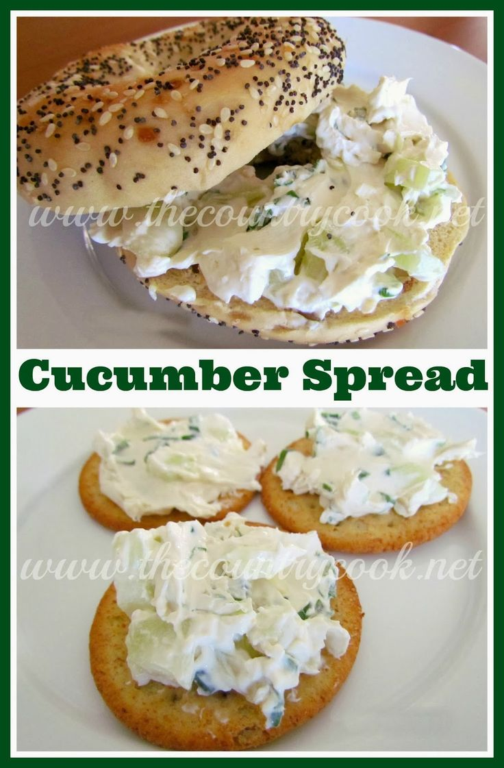From The Country Cook: Cucumber Cream Cheese Spread, made with Cream Cheese, diced Cucumber, finely sliced Green Onion and Worchestershire Sauce. Great on a toasted Bagel!  TIP: I swap Italian Dressing for the Worchestershire Sauce, and let it sit overnight. Heck, sometimes I even add Shrimp or Crab! And of course, it's great on toasted pumpernickel bread, too. ~~ Houston Foodlovers Book Club