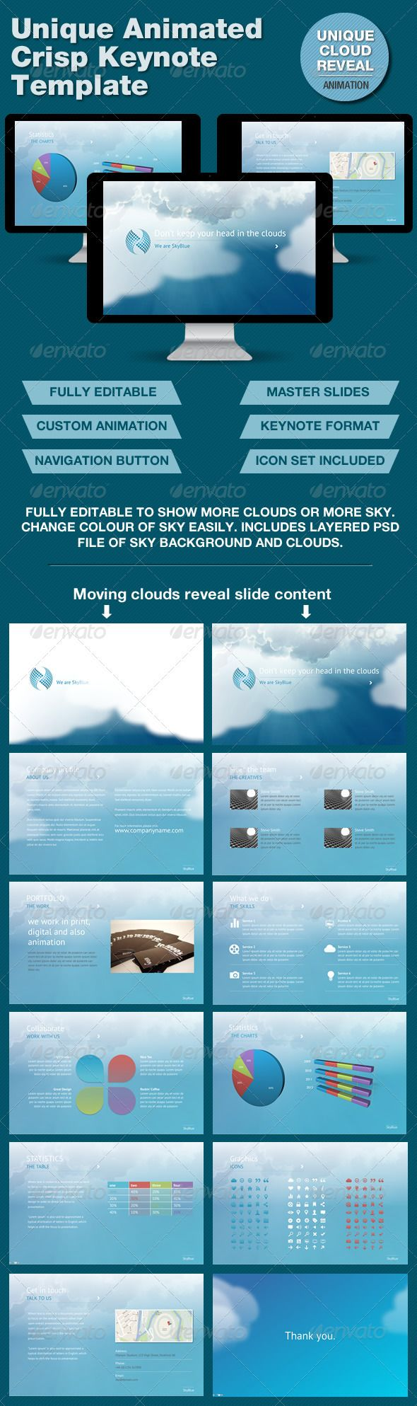 SkyBlue Keynote Template with Unique Animation  #GraphicRiver         The slides start off with clouds shrouding the content, then slide left, right and up to reveal the slide content. It's fully customizable regarding how much of the slide content you want to initially show, or not, as all clouds are individual graphics that can be positioned or animated independent of each other.  	 Free fonts used:  	 PT SANS download here  .fontsquirrel /fonts/PT-Sans  	 See the animation at…