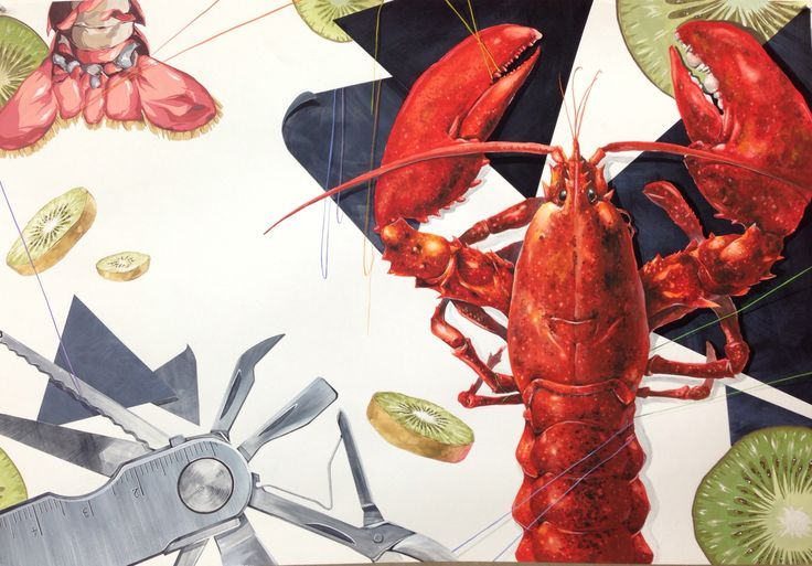 Watercolor Painting-lobster/kiwi/knife