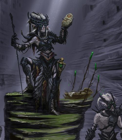 Elder Scrolls V: Skyrim's Falmer concept art by Adam Adamowicz