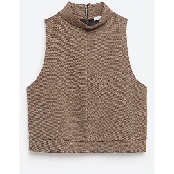 Zara Crop Top ($20) ❤ liked on Polyvore featuring tops, light khaki, zara top, crop top, brown crop top and brown tops