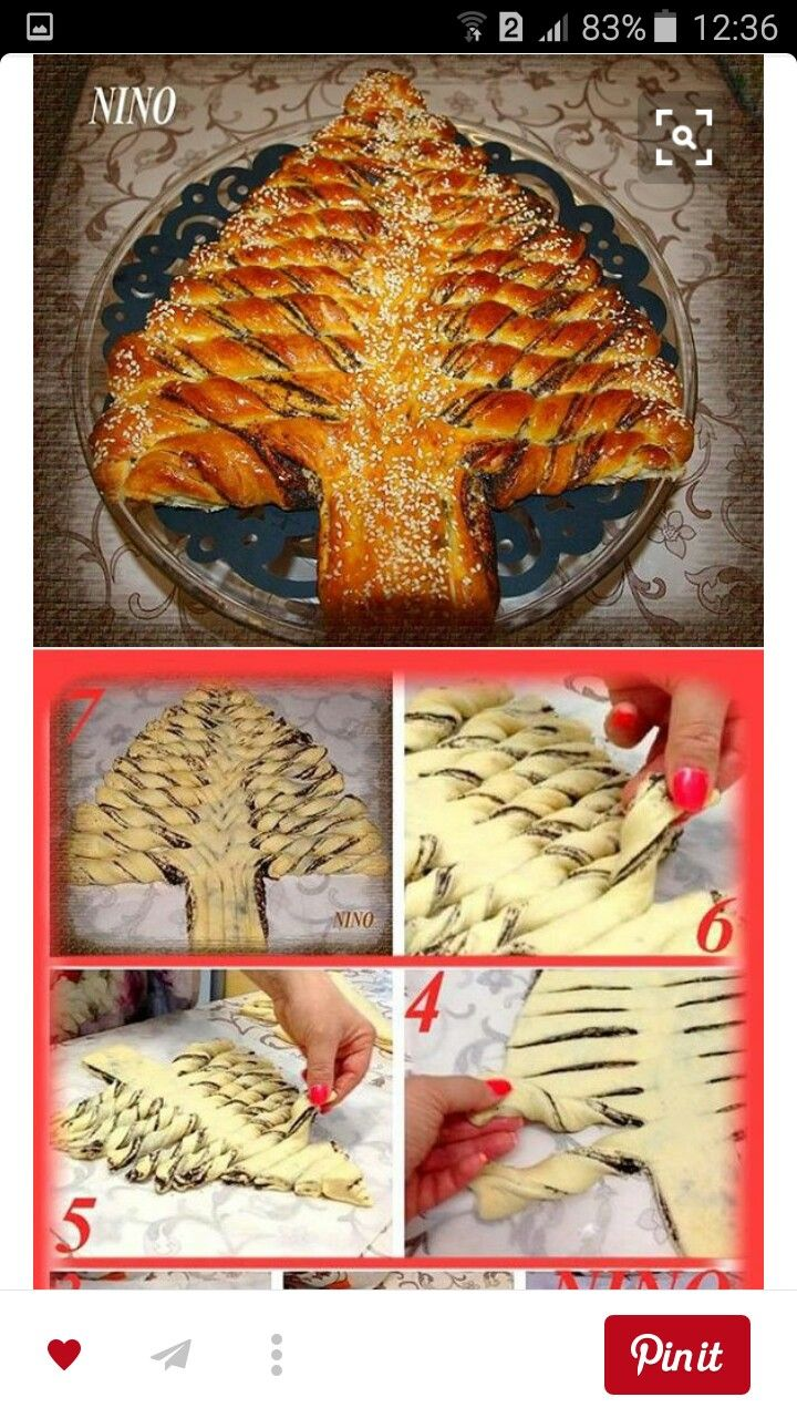 Pão de árvore de Natal com nutella