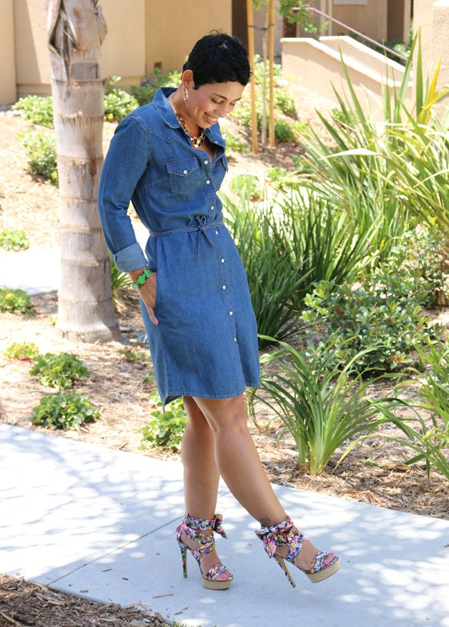 Denim wash mini dress – A mid-waist cinching tie, roll up sleeves and front button down denim wash mini dress, is light and airy with a slight a line flare that screams summer!