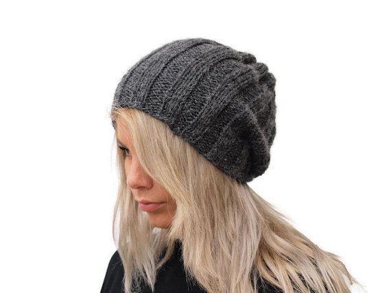 Dark Gray Knit Hat / Ribbed hat / Women hat / Winter by PepperKnit