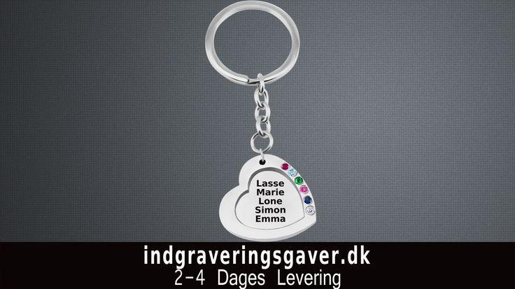 smykker med indgravering Udskåret Hjerte op til 7 navne Nøglering i sølv