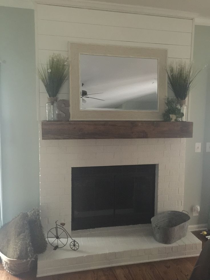 Faux ship lap fireplace and custom mantle