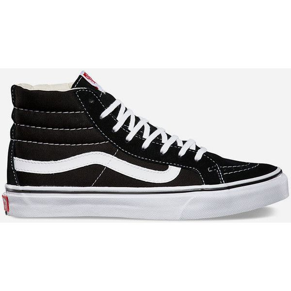 Vans Sk8 Hi Slim Womens Shoes (425 HKD) ❤ liked on Polyvore featuring shoes, sneakers, black, vans shoes, black high top shoes, black hi top sneakers, lace up sneakers and black sneakers