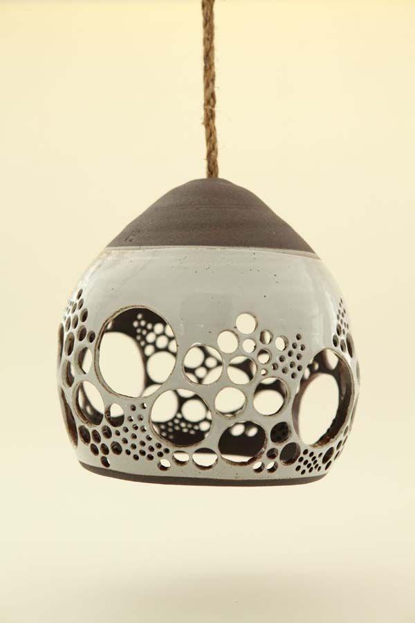 Heather Levine's ceramic hanging pendant lights - Maybe with swirls?