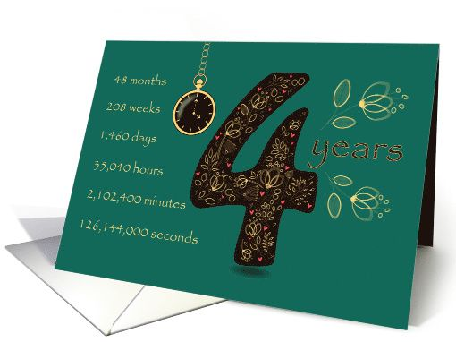 Congratulations on 4th Cancer Free Anniversary. Time counting card