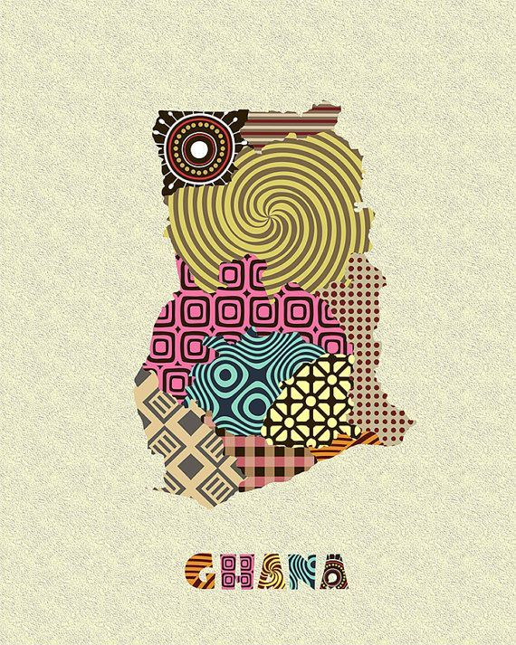 Ghana Map Wall Art Accra West Africa Kente Print Country