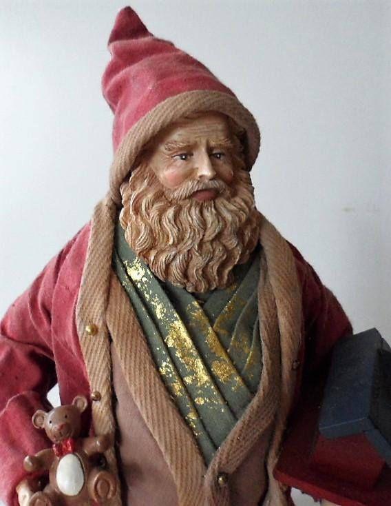 Vintage 1980s Standing Santa Figurine/Fabric Mache Santa