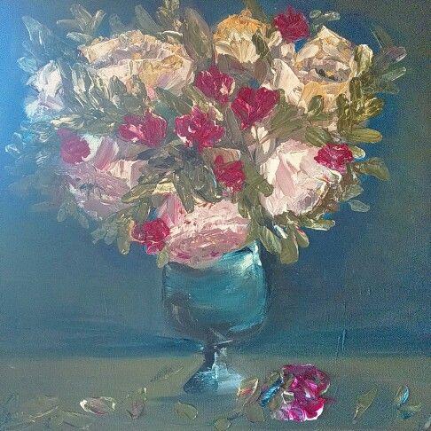 Rosas oleo sobre tela espatula. Rosemary