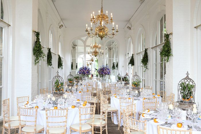 Wedding venue Holland Park, The Orangery is all is purpley & orange finest!