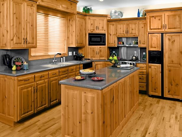 Pine kitchen cabinets are relatively inexpensive and look great in a rustic or country-style kitchen.