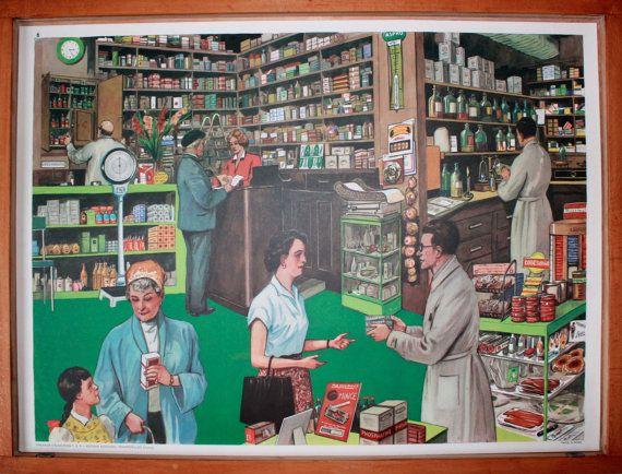 Vintage  Affiche scolaire double face par LeRetroMarket