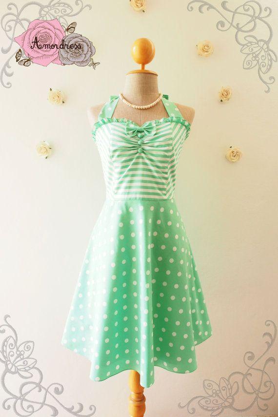 The Circus Party Dress - Sea Foam Green Dress Halter Dress Vintage Inspired Sun Dress Green Bridesmaid Dress Fancy Tea Dress ,XS-XL, Custom