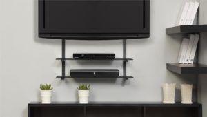 Corner Tv Wall Bracket With Shelf For Sky Box