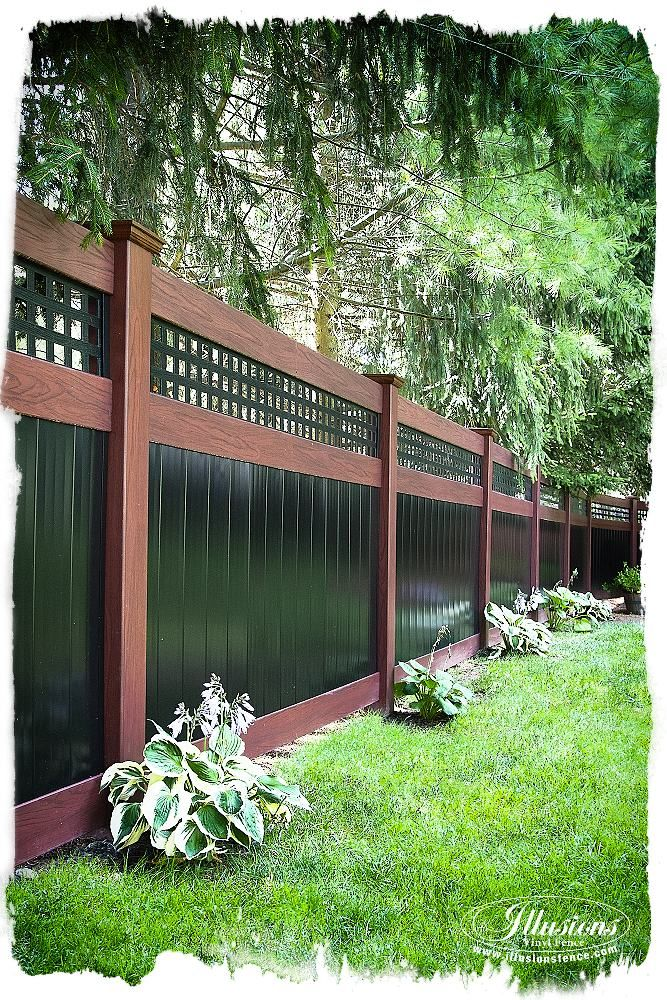 "Awesome Backyard Fence Idea! Two color PVC vinyl #IllusionsFence with mix 'n' match Rosewood and Black combo. This ""good neighbor"" fence looks the same on both sides. You can choose from any of the Grand Illusions Color Spectrum 35 colors AND the Grand Illusions Vinyl WoodBond authentic wood grains. The best fence ideas come from the heart. The look of painted and stained wood fence without the maintenance from Illusions Vinyl Fence. Shown here is the V3215SQ-6. #fenceideas #backyardideas"