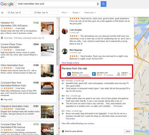 Google aggiunge alle mappe le recensioni di Booking e Priceline, ma TripAdvisor resta off limits