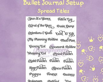 Bullet Journal Setup, Printable Stickers: Common titles