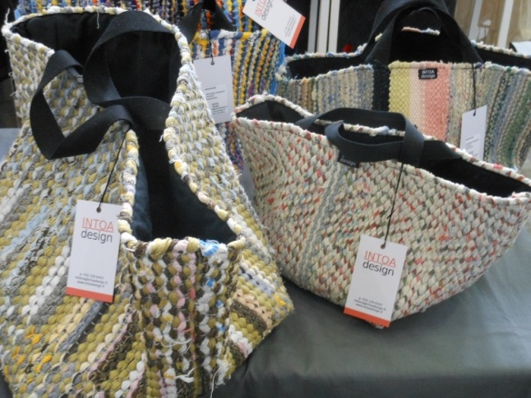 Bags made of old carpets. Smart! Spotted from the Recycling Factory in Helsinki, May 2012. Made by: Intoa Design