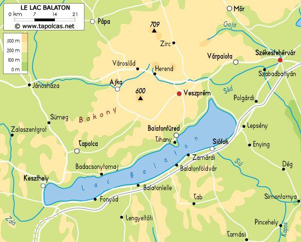 La Hongrie et le lac Balaton - Carte du lac Balaton