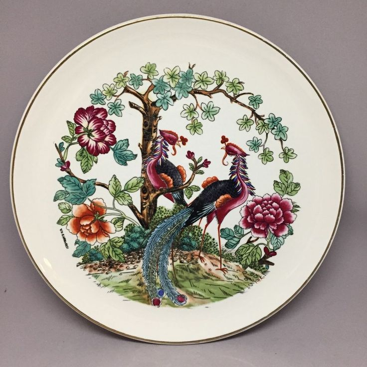 "Antique V.V. Carraresi Italian Signed Large Plate Peacock 10.5"" Oriental  
