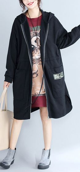 winter-women-cotton-cardigans-black-hooded-prints-zippered-warm-trench-coats