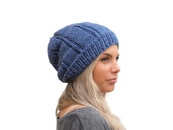 Slouchy Knit hat / Women knit hat in Mid Blue / by PepperKnit