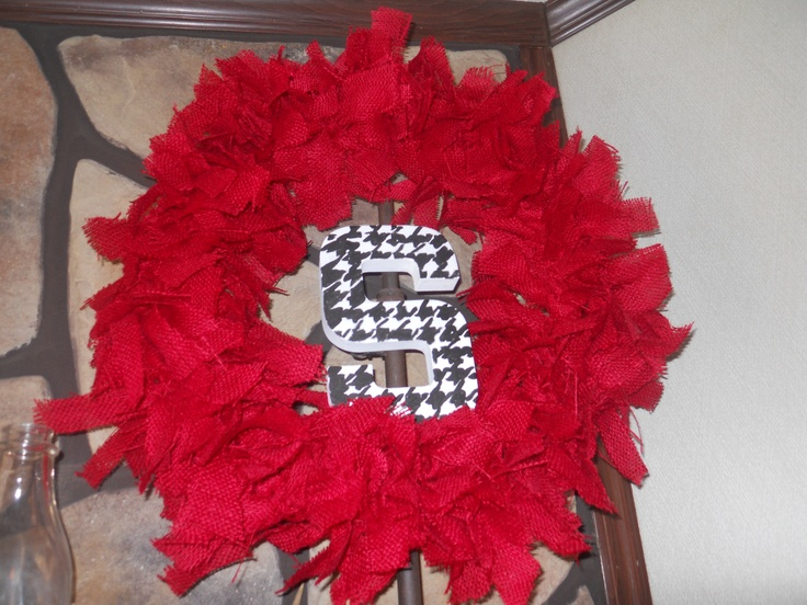 Red Burlap/houndstooth monogram wreath