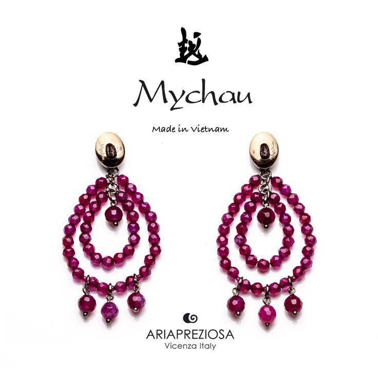 """Mychau - Coppia di orecchini Vietnam """"Big Cluster"""" a due gocce, originali, realizzati in Argento 925‰ e pietre naturali Agata Rossa. Chiusura a farfalla"""