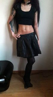 Collar - WGT Black Market Lace sleeve crop top - Ambiance Apparel Leather skirt (with pockets!!!) - Forever 21