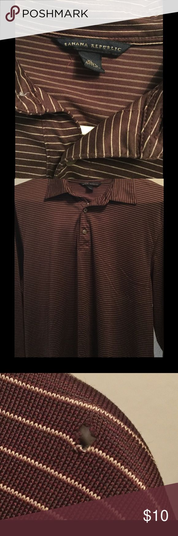 Men's Banana Republic long sleeved polo shirt Men's long sleeved polo shirt. One small hole in upper left shoulder (picture is zoomed in) Banana Republic Shirts Polos