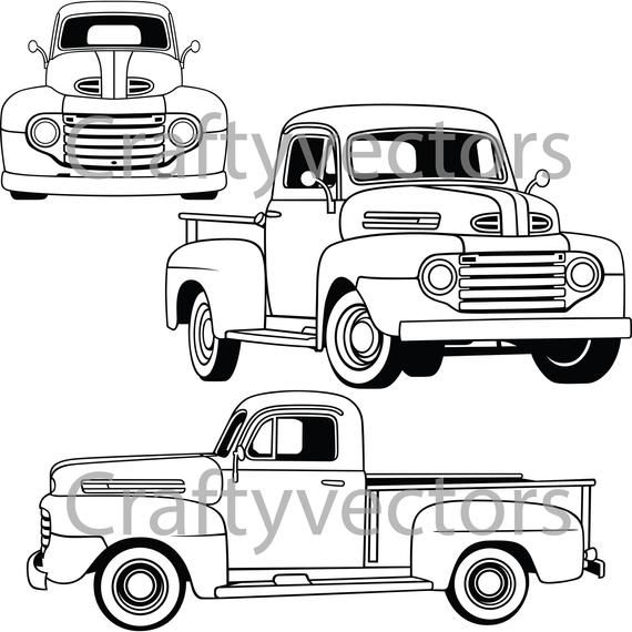 Ford F1 1950 Vector Etsy In 2021 Ford Classic Pickup Trucks Old Pickup Trucks