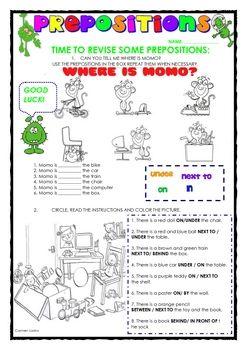 Free prepositions worksheet