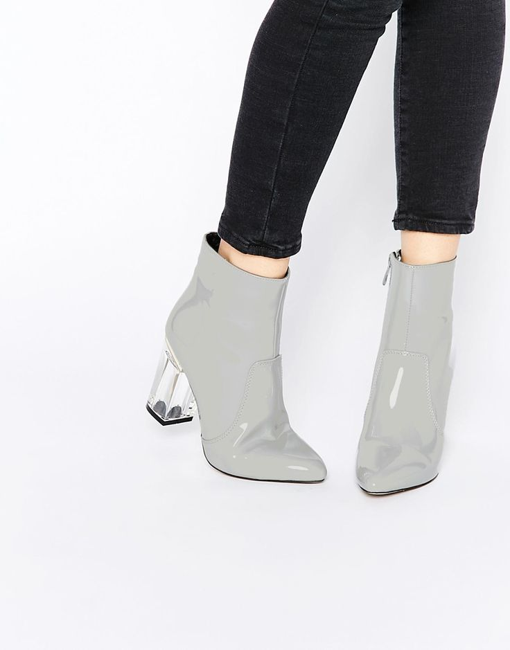 Public Desire Claudia Clear Heeled Patent Boots ASOS