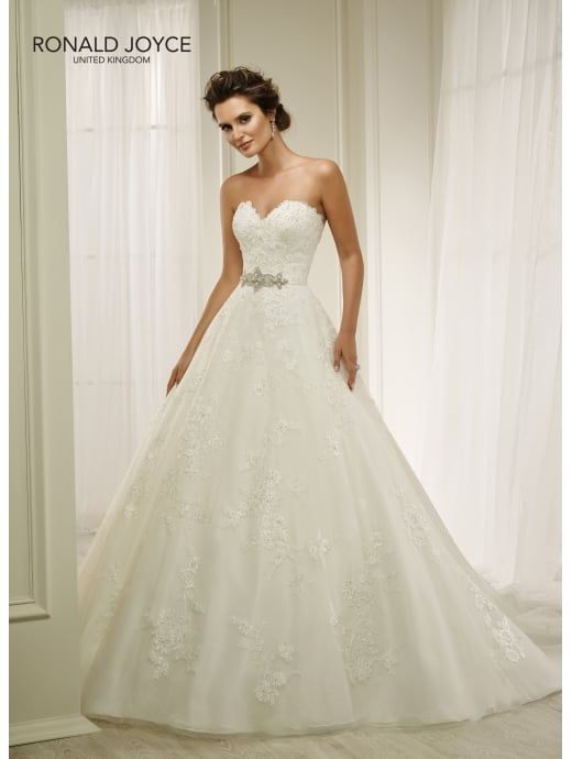 RONALD JOYCE 69206 HANNA Traditional Strapless Lace Ball Gown Ivory