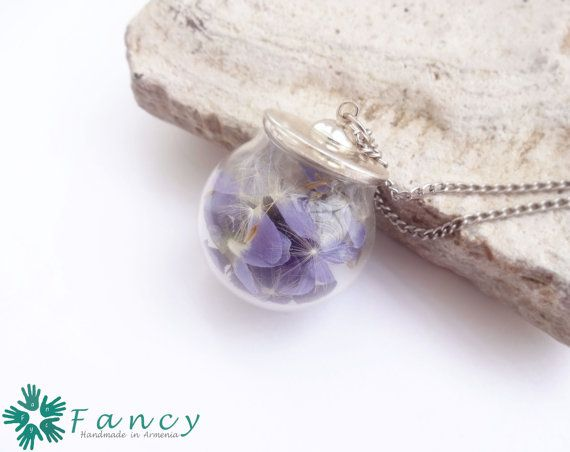 Real violet necklace  Real flower necklace by FancyHandmadeArmenia
