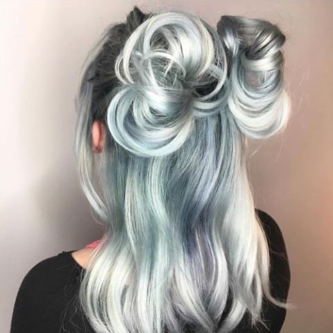Shades of Grey... Mint Cream Silver Fox, Lilac Mist, Arctic Blue,  Misty Rose add a dash of Purple Rain and Pink Diamond.. so many shades to choose from, the combinations are endless! Limited only by your imagination🎨#lusthairnz #shadesofgrey #bluemonday