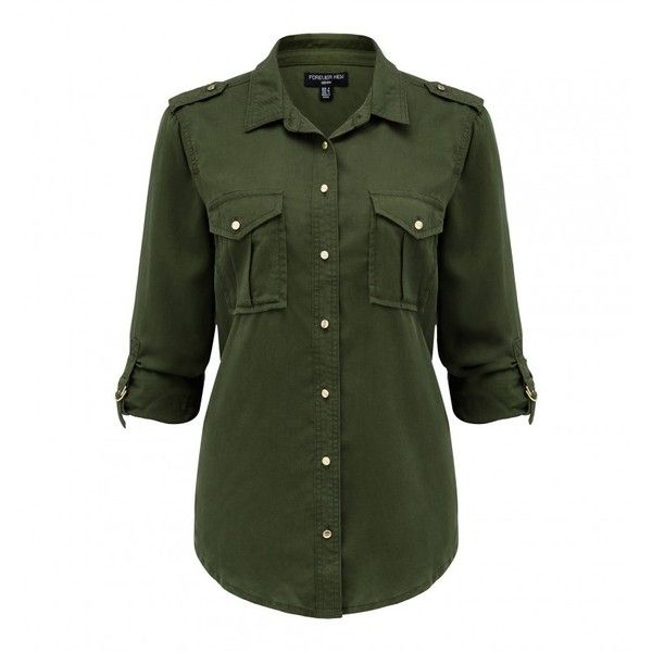 Clover Military Denim Shirt ($52) ❤ liked on Polyvore featuring tops, military top, green denim shirt, military shirts, four leaf clover shirt and denim top