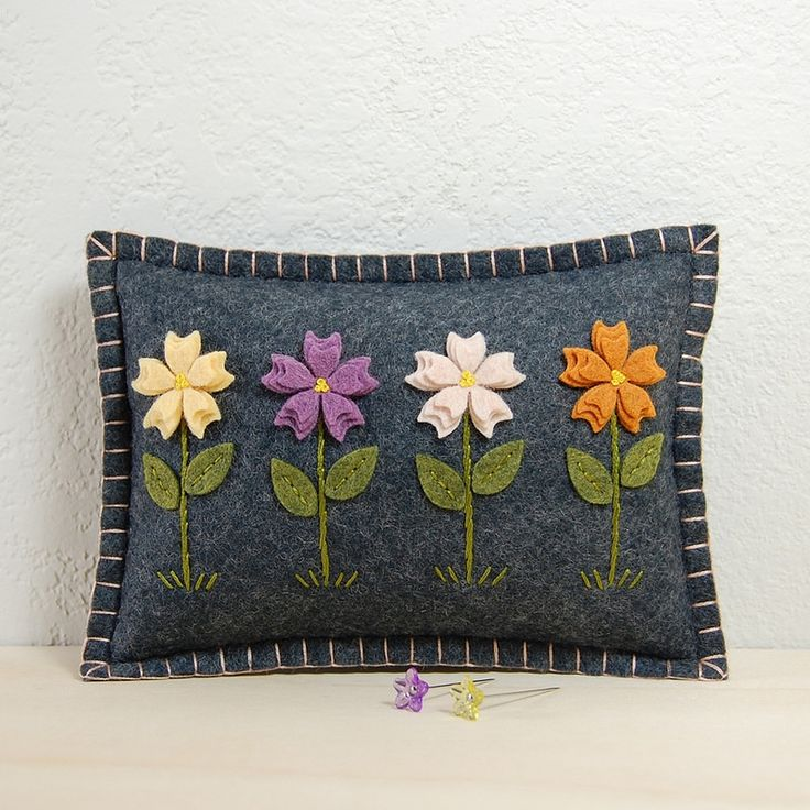 Wool Felt Flower Garden Pincushion