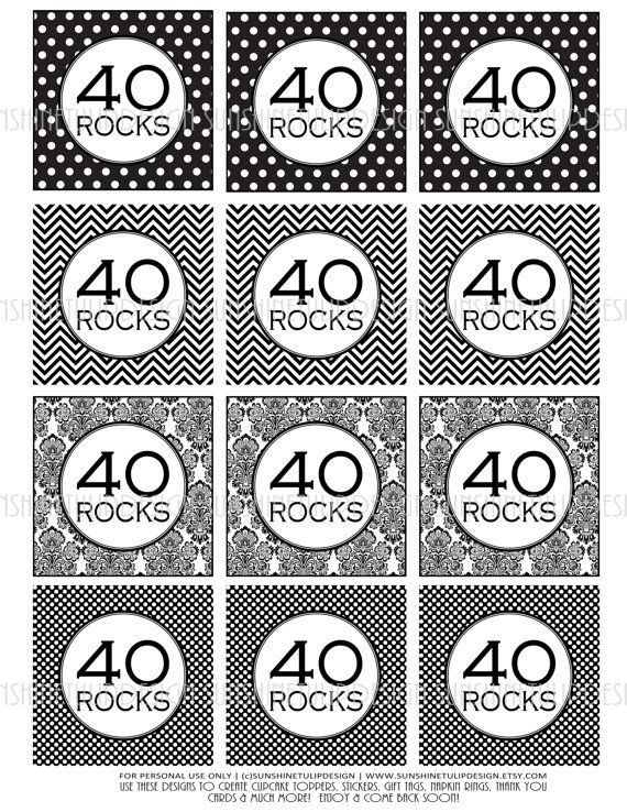 Love Black & White!  Classy! 40th Birthday Black and White Printable DIY by sunshinetulipdesign, $6.50