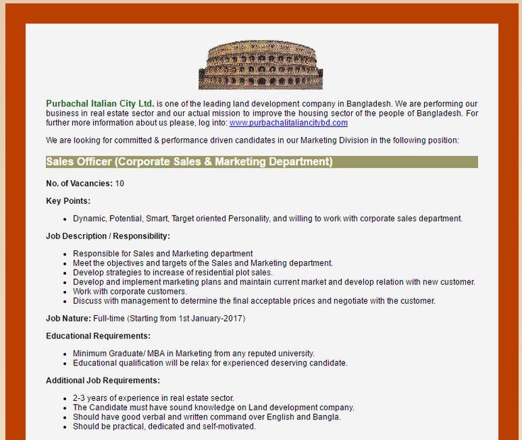 Purbachal Italian City Ltd  Post Title Asstt Manager Sales
