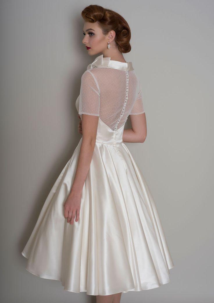 86 hattie vintage inspired tea length satin wedding for Pinterest wedding dress vintage