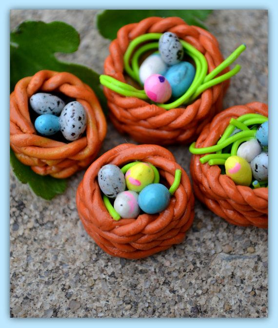 Art Clay Sculpted Bird Nest Ring: Little Polymer Clay Birds Nest Mini Nest & Eggs By