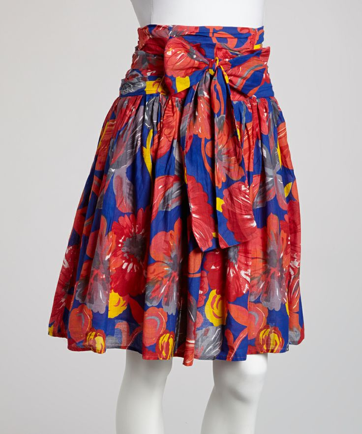 Blue & Orange Floral Bow Skirt | Daily deals for moms, babies and kids