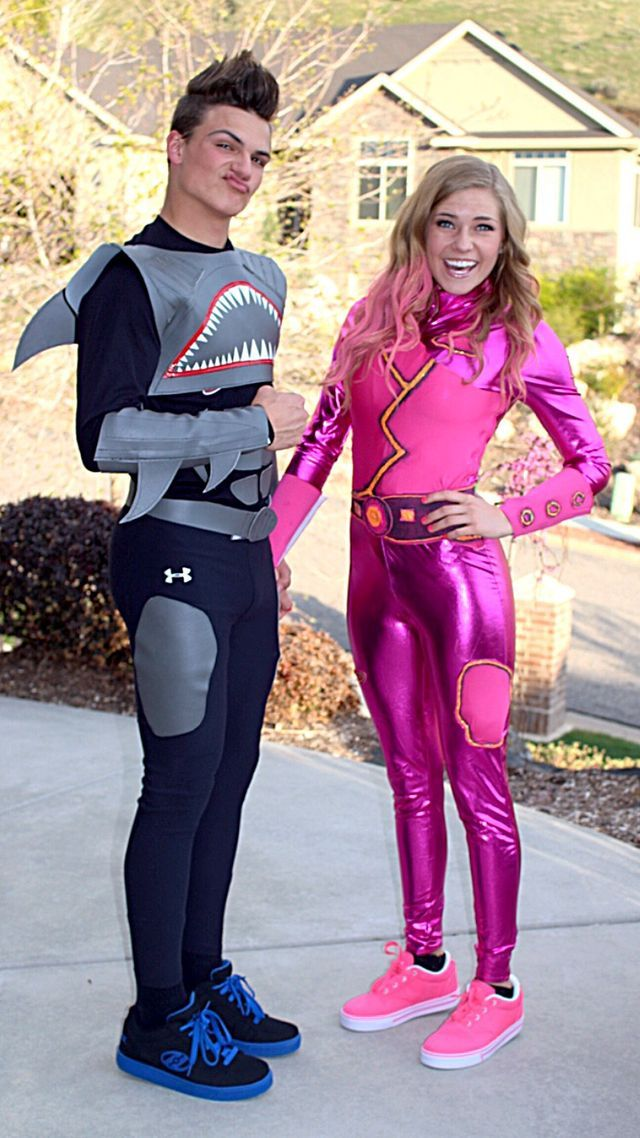 super hero shark boy and lava girl diy costumes duo day - Famous Duos Halloween